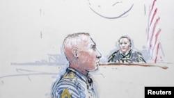 Vizatim i rastit i një prej seancave të procesit kundër rreshtetit, Robert Bales