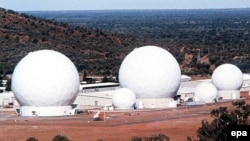 Radar domes of the joint U.S.-Australian missile-defense base near Alice Springs.