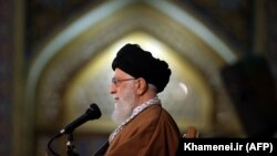 IRAN -- Iranian Supreme Leader Ayatollah Ali Khamenei delivers a speech on the first day of Persian New Year, also known as Norouz in Mashhad, northeast of Tehran, March 21, 2019