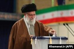 Iranian Supreme Leader Ayatollah Khamenei casts his ballot on February 21.