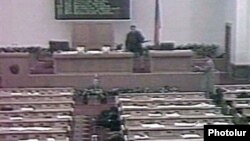 Armenia - A screenshot of TV footage of gunmen opening fire in the Armenian parliament on 27 October, 1999.