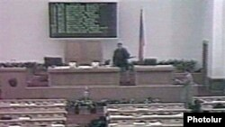 A screen grab from footage of the deadly October 1999 attack in the Armenian Parliament