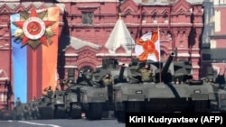 Russian T-14 Armata tanks parade through Red Square during the Victory Day military parade in Moscow on May 9.