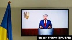 Петро Порошенко свідчить у справі про державну зраду Віктора Януковича. Київ, 21 лютого 2018 року