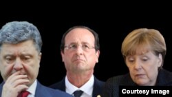 Президент України Петро Порошенко, президент Франції Франсуа Олланд і канцлер Німеччини Анґела Меркель