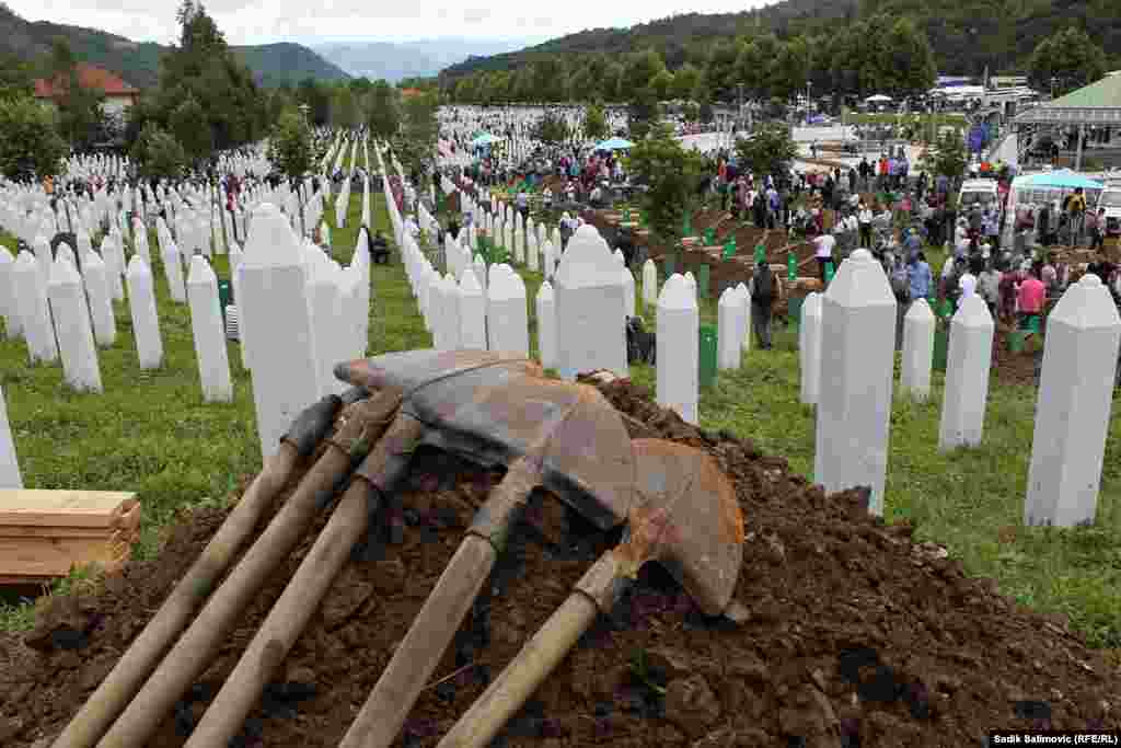 The cemetery at the memorial center in Potocari, near Srebrenica