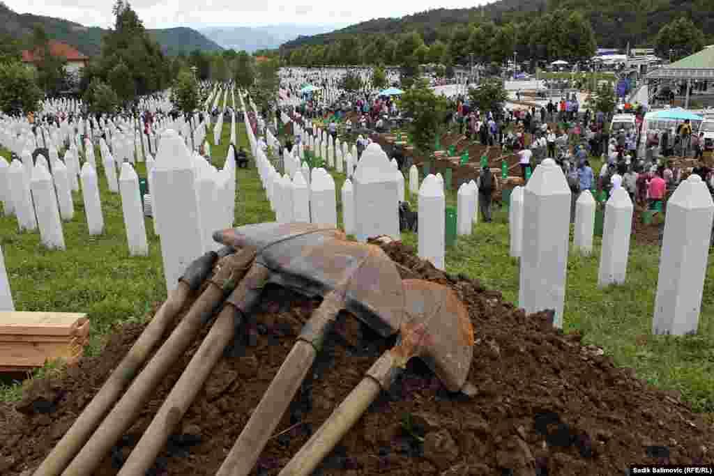 The cemetery at the memorial center in Potocari, near Srebrenica