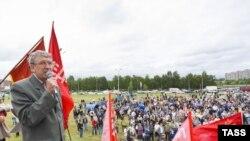 АвтоВаздын жумушчуларынын Тольятидеги демонстрациясынан бир көрүнүш. 6-август, 2009-ж.