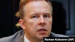 Bank of Latvia Governor Ilmars Rimsevics speaks to the Associated Press in Riga in July.