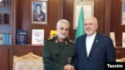 Mohammad Javad Zarif, foreign minister and Qassem Solaimani, commander of IRGC Qods Force. August 6. 2019