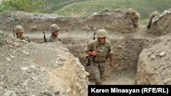 Nagorno-Karabakh -- Karabakh Armenian soldiers on frontline duty in northern Martakert district, 20Jul2012.