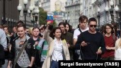 Участники акции в поддержку незарегистрированных независимых кандидатов в Мосгордуму. Москва, 3 августа 2019 года.