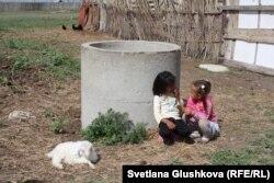 Девочки играют близ больного козленка. Аул Кабырга, 8 июня 2015 года.