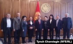 Кыргызстандын Жогорку Кеңешинин Төрагасы Ч. Турсунбеков КТРКнын Байкоочу кеңешинин мүчөлөрүн кабыл алды. 24.1.2017.