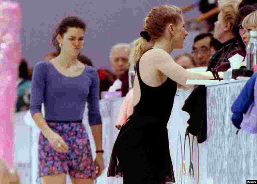 Harding's main team competitor, Nancy Kerrigan (left), was attacked after a practice by an assailant who struck her leg with an iron bar. After Harding pleaded guilty to hindering the prosecution, she was banned for life from figure skating. In 2008, Harding made a short-lived foray into television as a commentator on TruTV Presents: World's Dumbest.