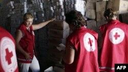 Сотрудники Красного Креста проверяют гуманитарный груз, доставленный в один из городов Луганской области