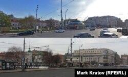 Торговый павильон у станции метро Сухаревская до и после сноса