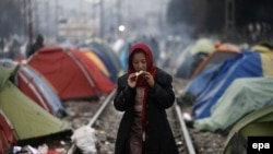 Лагерь для беженцев на границе Греции и Македонии.