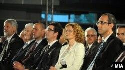 Macedonia - Leadership of opposition SDSM(Social Democratic Union of Macedonia) on 20th jubilee of the party in Skopje. From from left to right - Stevce Jakimovski, former President of Macedonia Kiro Gligorov, Vice President of SDSM Gordan Georgiev, Stevo