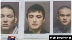 """Фотографии задержанных в США казахских студентов по обвинению в краже колес. Скриншот с видеосюжета телеканала """"Фокс 26""""."""