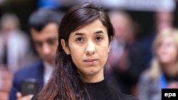 Nadia Murad receives the Vaclav Havel Human Rights Prize at the Council of Europe in Strasbourg on October 10.