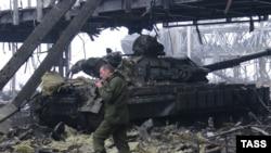 Сепаратисты в аэропорту Донецка, 21 января 2015 г.
