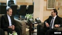 دیدار علیاکبر ولایتی، مشاور رهبر جمهوری اسلامی و سعد حریری، نخستوزیر لبنان، پیش از استعفای آقای حریری.