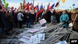 Кадр с прошлогоднего митинга-концерта в Москве. 18 марта 2015 года