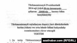 Türkmenistanyň raýatlaryna daşary ýurt döwletlerinde berlen ýokary we orta hünär bilimi hakyndaky resminamalary ykrar etmegiň tertibi