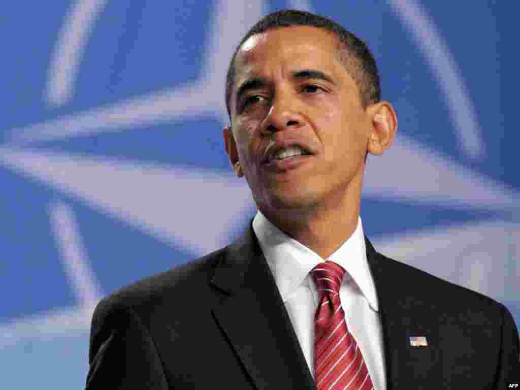 АҚШ президенті Барак Обама НАТО саммитінен кейін Страсбургте қорытынды баспасөз маслихатын өткізді. - Президент США Барак Обама во время заключительной пресс-конференции после саммита НАТО в Страсбурге. 4 апреля 2009 года.