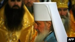 The new head of the Russian Orthodox Church, Patriarch Kirill, at the enthroning ceremony in Moscow