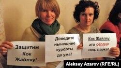 Группа противников застройки урочища Кок-Жайляу во время встречи в Алматы.