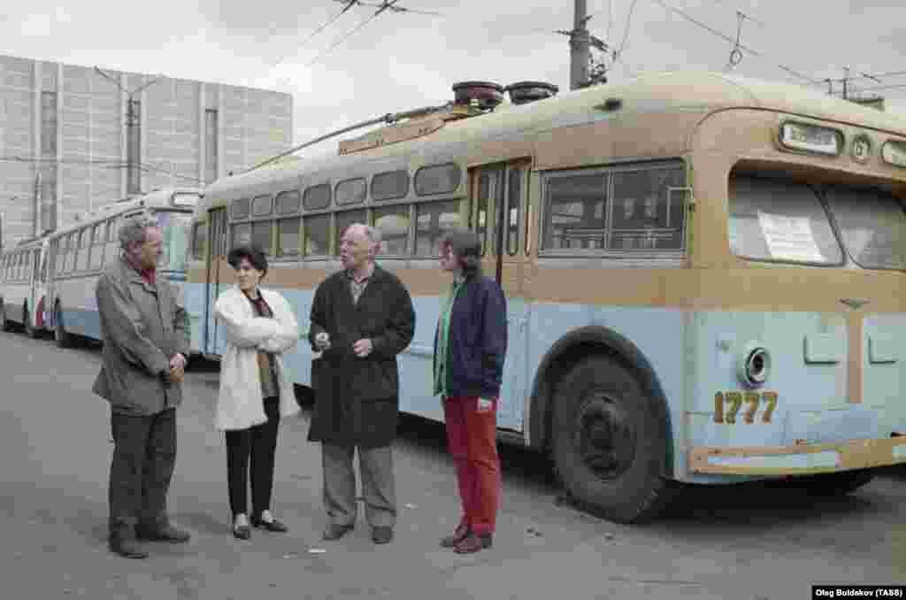 Visitors at a museum opened in Trolleybus Depot No. 1 in 1996.