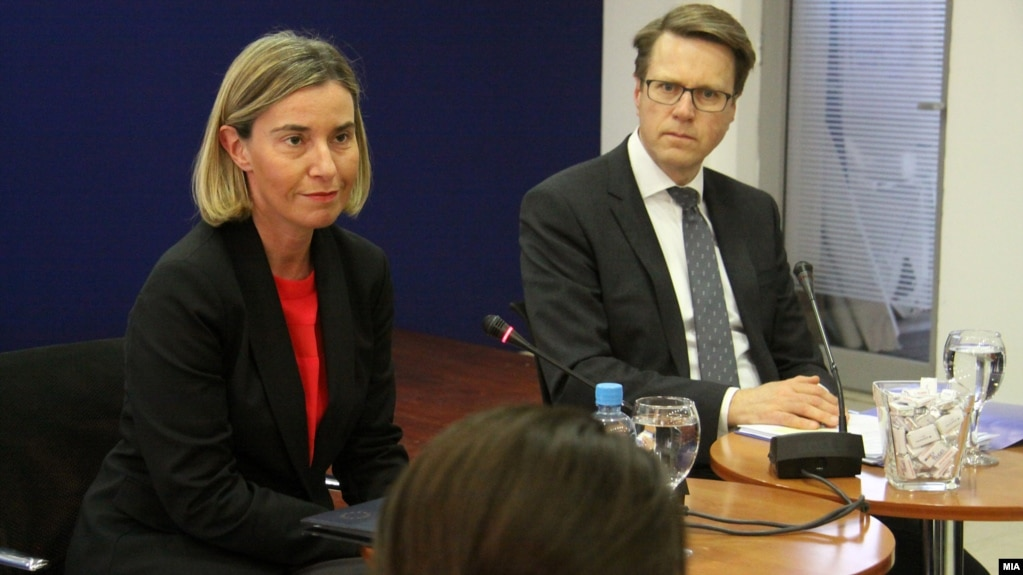 EU foreign policy chief Federica Mogherini (left) in Skopje, Macedonia, on March 2.