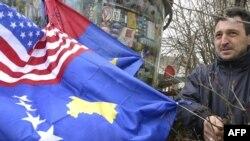 Ilustracija, kosovska i američka zastava