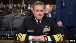The U.S. Cyber Command chief, director of the National Security Agency (NSA), and chief of Central Security Services, Navy Admiral Michael Rogers, appears before the Senate Armed Services Committee on May 9.