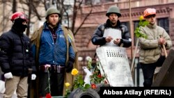 Евромайдандагы демонстранттар. Киев, 23-февраль, 2014-жыл