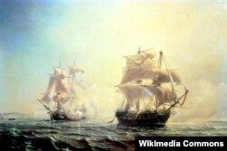 Доставив в Америку Эдмона Жене, L'Embuscade 31 июля того же года атаковал в Нью-Йоркском порту и сильно повредил британский фрегат «Бостон». Этот бой изображен на полотне Жана Антуана Теодора Гюдена.
