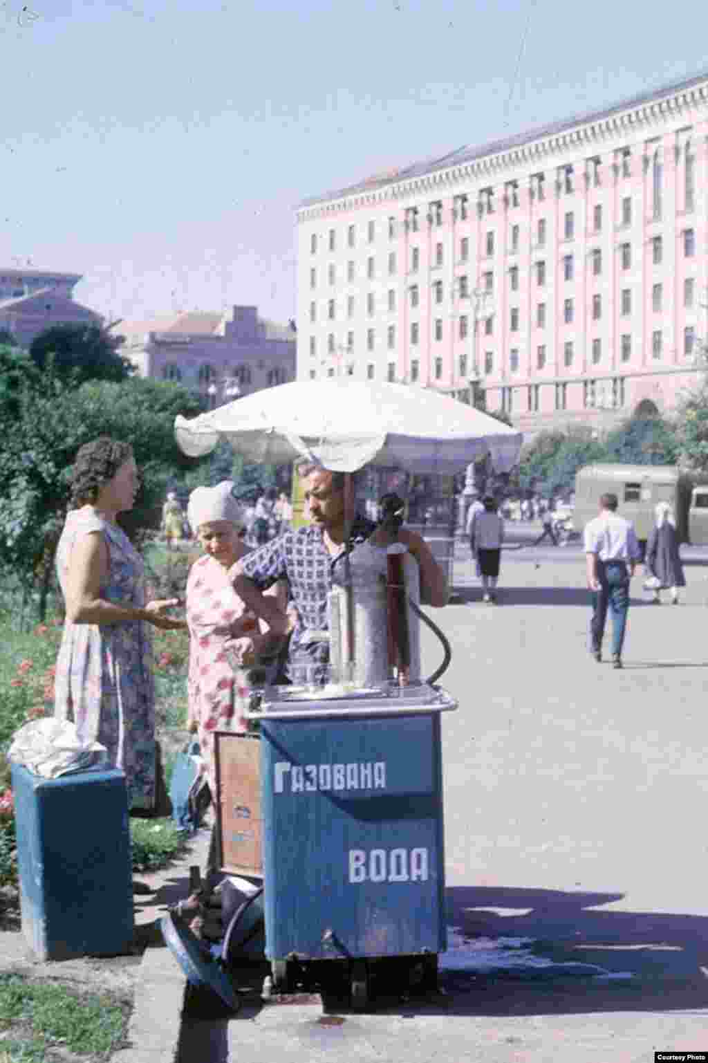 "A vendor in Kyiv sells ""carbonated water."""