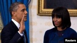 АҚШ президенті Барак Обама мен оның жұбайы Мишель Обама. Вашингтон, 20 қаңтар 2013 жыл