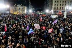 Прихильники «Сіризи» святкують перемогу партії на виборах в Афінах, 25 січня 2015 року