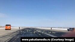 Взлетно-посадочная полоса с рассыпанным золотом в Якутске