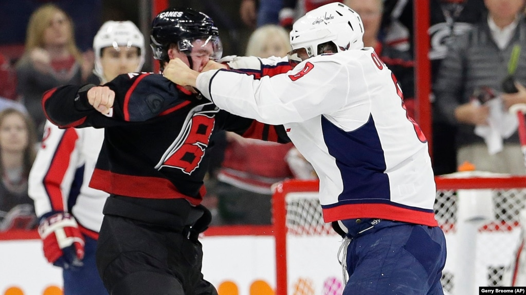 4be883501 The Washington Capitals' Alex Ovechkin (right) punches the Carolina  Hurricanes' Andrei Svechnikov