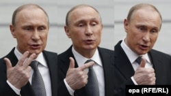 A combination photo showing Russian President Vladimir Putin gesturing as he speaks during a meeting with journalists after a live broadcast nationwide call-in in Moscow on April 14.
