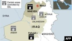 نقشهای که گروه داعش منتشر کرده و در آن مربع سیاه بخشهایی از عراق را نشان میدهد که به طور کامل در دست این گروه است.