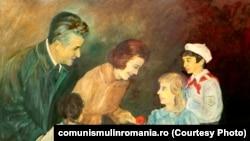 Ceaușescu și copiii; autor: E.Niculescu; oferit de autor; ulei pe pânză; 25 ianuarie 1978. Sursa: comunismulinromania.ro