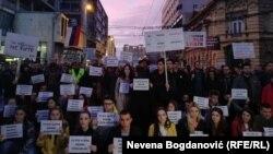 Студенти Белградського університету під час протесту, під назваою «1 із 5 мільйонів». 16 березня 2019 року