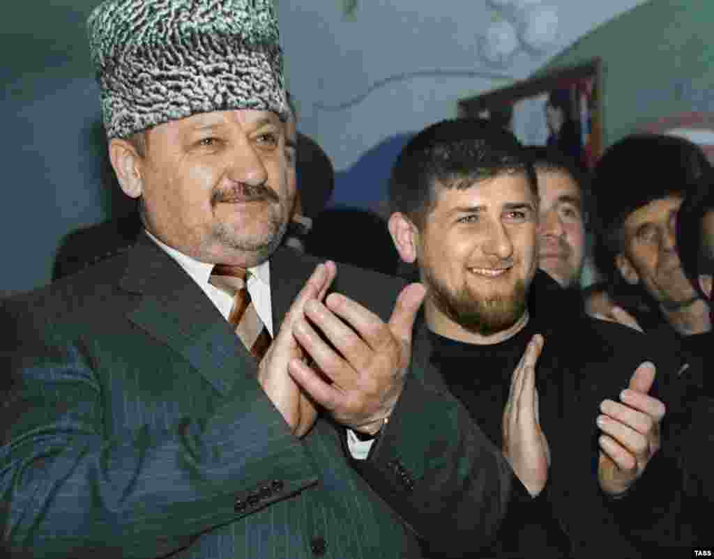 In March 2000 Akhmad Kadyrov (left) was appointed acting head of the Chechen administration. The separatist fighter turned pro-Kremlin politician was assassinated in 2004. His son Ramzan (right) was appointed president of Chechnya by Putin in 2007 and remains in the top post. Chechnya has been rebuilt with large infusions of money from Moscow but rights groups say Kadyrov rules through violence and intimidation and is responsible for years of severe abuses including abductions, torture, and killings.