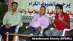 من اليمين بهاء الكاظمي وكاظم الزهيري وعصام جعفر