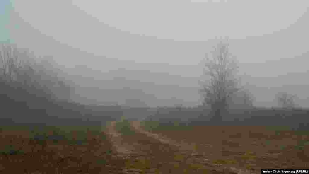 Грунтовка теряется в густом тумане